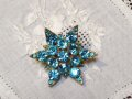 Vintage AquaBlue Rhinestone Glass Pin Brooch