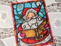 Vintage Christmas Card Stained Glass Santa / used