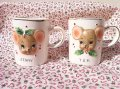Vintage Josef Originals, Pair of Tom & Jerry Christmas Mugs