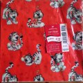 Vintage Hallmark Wrapping Paper, Baby Tiger Posing Heart Love, 2 sheets AS IS