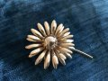 Vintage Gold Brooch Double Petals