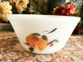 Federal, Milk Glass Mixing Bowl, 1950'Gay Fad Studio Hand Painting Fruit Pattern, Pear, AS IS