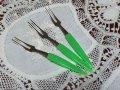 新品 日本製 昭和なフルーツ・フォーク 3本セット グリーン
