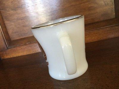 画像2: Fire King, Silver Top with Leafs Milk Glass White D-handle Mug
