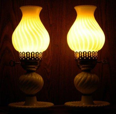 画像2: ビンテージ・ミルクグラス・ランプ 2個セット
