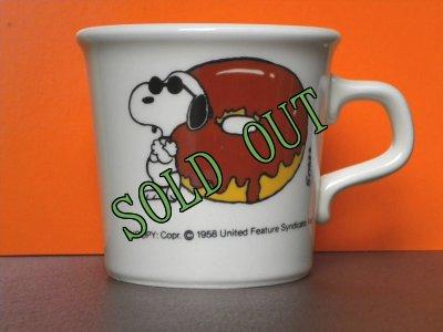 画像1: sold スヌーピー  ジョー・クール&ドーナツ 1970年代 陶器マグ アイボリー(テイラー・インターナショナル社)