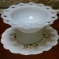 FireKing, Milk Glass, Lace Edge Compote (L)