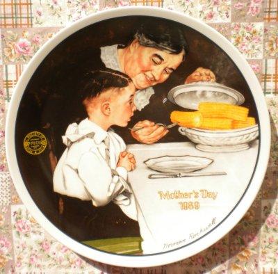 画像1: ノーマン・ロックウェル 母の日 マザーズデー・プレート 1989年 サンデー・ディナー