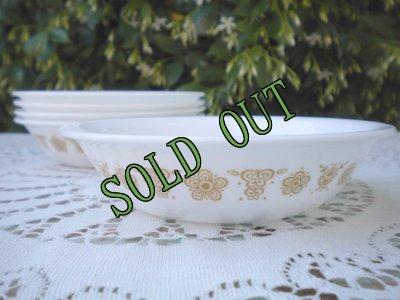 画像1: sold コレール/コーニング バタフライゴールド デザートボウル
