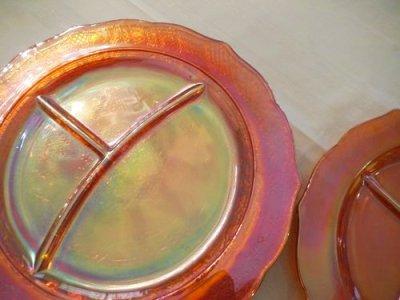 画像1: フェデラル カーニバルグラス 3ディバイドディッシュ