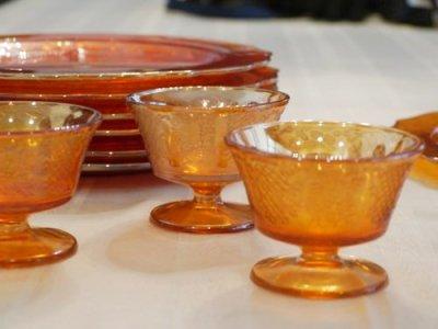 画像1: フェデラル カーニバルグラス シャーベットディッシュ