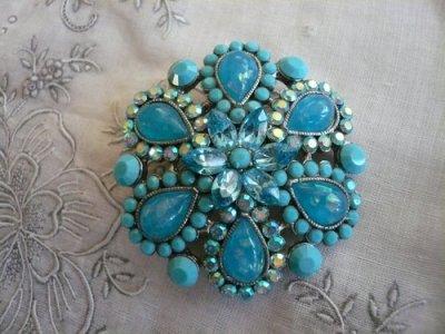画像1: Cara Tarquoise Round  Pin