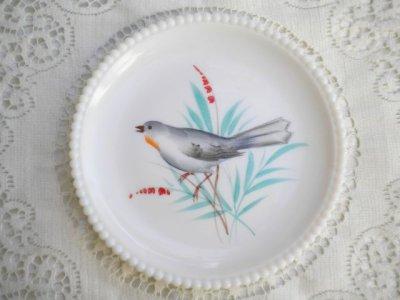 画像1: ウェストモーランド ミルクグラス ビーズエッジ 手描きバード サラダプレート モッキンバード