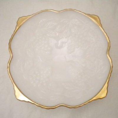 画像1: アンカーホッキング ミルクグラス ゴールドトリム・レリッシュトレイ グレープ