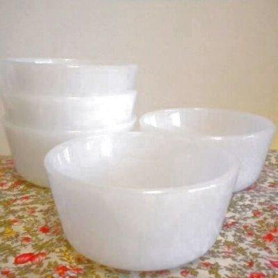 画像1: アンカーホッキング ミルクグラス カスタードカップ