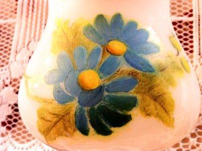 画像3: ビンテージ・ミルクグラス・ランプ ブーピー ブルーフラワー