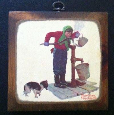 画像1: ノーマン・ロックウェル 木製アート バケツの少年