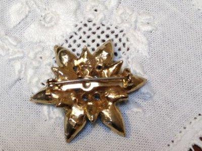 画像2: Vintage AquaBlue Rhinestone Glass Pin Brooch