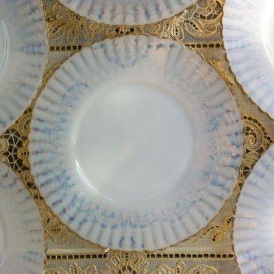 画像1: マクベスエバンス ペタルウェア(白)ブレッド&バター・プレート No.1 ゴールドエッジ 裏面に波紋状ライン入り