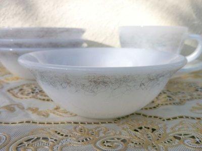 画像3: フェデラル ミルクグラス メタリックスクラッチ模様入り 3ピースセット