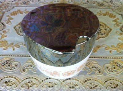 画像3: ゲムコ/コーニング ミルクグラス バタフライ・パイレート・ゴールド柄 砂糖壺 1971年