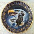 画像1: ロイヤルドルトン 限定版 金彩飾り皿 アメリカンイーグルと虹 (1)