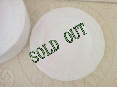 画像1: sold インディアナグラス ミルクグラス ハーベストグレープ ブレッド&バター・プレート