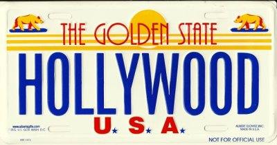 画像1: ティンサイン(ブリキ看板)ナンバープレート ハリウッド(カリフォルニア)
