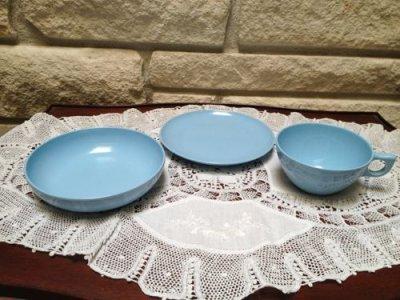 画像1: ビンテージ レノックス・ウエアー 朝食用3点セット メラミン(プラスティック)