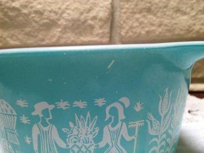 画像2: パイレックス バタープリント/ブルー ラウンド・キャセロール 1クウォート(約lリットル) その1
