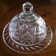画像2: Vintage Cut Crystal Butter / Cheese Round Dish (2)