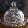 画像1: Vintage Cut Crystal Butter / Cheese Round Dish (1)