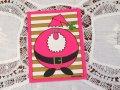 ビンテージ 使用済 クリスマスカード ピンクのサンタ 1972