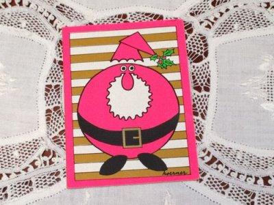 画像1: ビンテージ 使用済 クリスマスカード ピンクのサンタ 1972