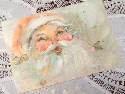 画像1: ビンテージ 使用済 クリスマスカード サンタにっこり