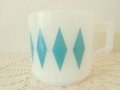 画像1: ファイヤーキング ミルクグラス・マグ コバルトグリーン・ダイヤモンド