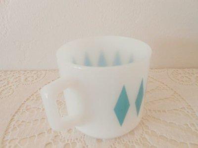 画像2: ファイヤーキング ミルクグラス・マグ コバルトグリーン・ダイヤモンド
