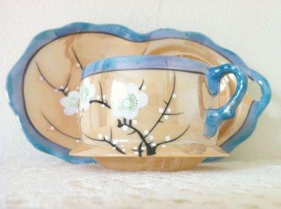 画像4: 里帰りオールドジャパン 瀬栄陶器(瀬戸) サクラ印 推定1920年〜1930年頃  ラスター彩 カナッペセット 3組セット
