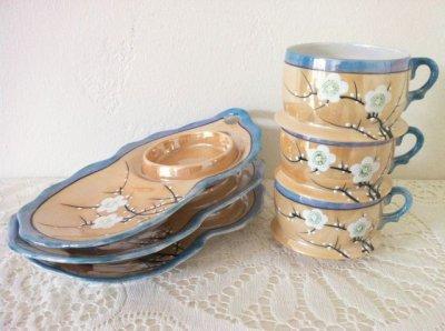 画像1: 里帰りオールドジャパン 瀬栄陶器(瀬戸) サクラ印 推定1920年〜1930年頃  ラスター彩 カナッペセット 3組セット