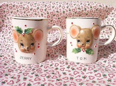 画像1: ビンテージ・ヨセフ・オリジナル トム&ジェリー クリスマス陶器マグ 2個セット