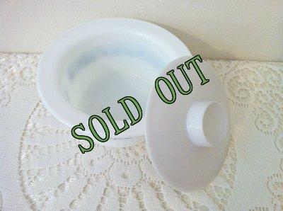 画像3: sold パイレックス オールドタウンブルー ミルクグラス バター・タブ・ディッシュ フタつき