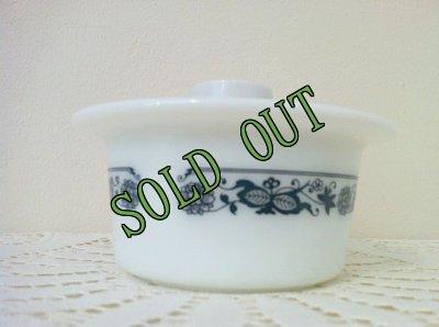画像2: sold パイレックス オールドタウンブルー ミルクグラス バター・タブ・ディッシュ フタつき