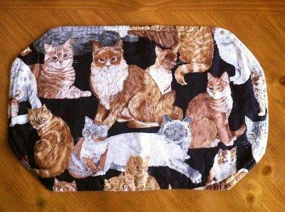画像1: ビンテージ・ランチョンマット 猫 その4