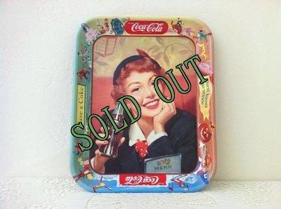 画像1: sold コカコーラ 1953年ビンテージ・ブリキ(ティン)トレイ 「メニューガール」