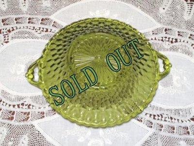 画像4: sold ビンテージ アボカドグリーン ディプレッショングラス キャンディーディッシュ