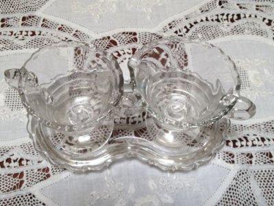 画像2: フォストリアグラス センチュリー シュガー&クリーマー トレーつき完品
