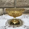 Vintage Amber&Gold Glass Compote ftd