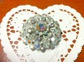 Regency(1950'-1970'), Vintage Rhinestone Glass Pin Brooch,