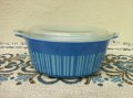 Pyrex, Blue Stripe, 1 1/2 pint Covered Casserole 1966
