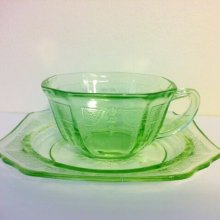 他の写真1: Anchor Hocking, Princess Green Vaseline / Uranium Glass Tea Cup 1931~1935, AS IS